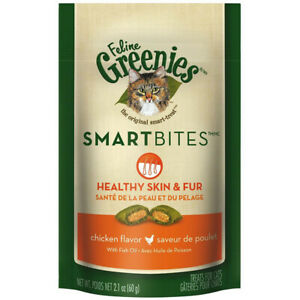 GREENIES - Smartbites Healthy Skin and Fur Chicken Flavor Cat Treats - 2.1oz/60g