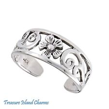 Silver Adjustable Toe Or Pinkie Ring Flower with Scrolls .925 Solid Sterling
