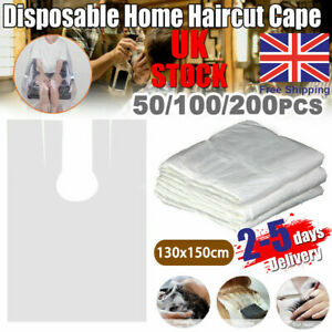 50 Disposable Polythene Gown Hair Dressing Salon Cape Beauty Barber PPE UK