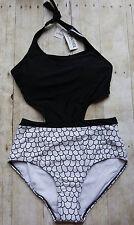 Cupshe Apparel America Small Monokini Swimsuit Black &White One Piece High Waist