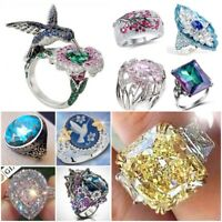 Fashion 925 Silver Ring Pink Sapphire Citrine Ruby Turquoise Opal Bird Party