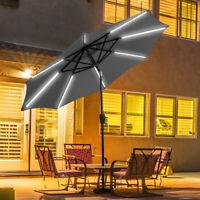 9 FT Patio Solar Umbrella LED Tilt Deck Waterproof Garden Market Beach Gray