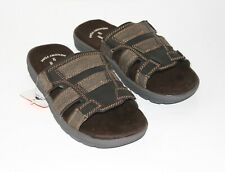 Ozark Trail Mens Sandals 7 Brown Canvas Leather Slip-On Tread Memory Foam