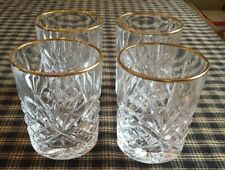 Godinger Crystal Dublin Gold Set Of 4 Double Old Fashioned Glasses. Exc. Cond.