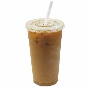 32 oz Clear Plastic Cups With Flat Slotted Lids for Iced Cold Drinks Coffee Tea