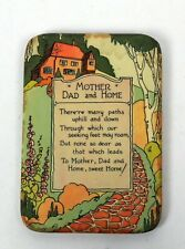 Antique Celluloid Motto Plaque Mother Dad and Home NO 433