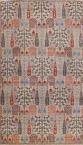 Vegetable Dye Geometric Super Kazak Oriental Area Rug Wool Hand-knotted 9x12