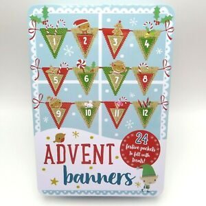 Advent Calendar Flag Banner Christmas Decoration Kit Felt Burlap Pockets Pendant