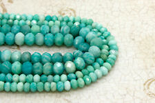 Natural Amazonite, Amazonite Faceted Rondelle Loose Natural Loose Gemstone Beads