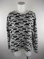 H&M Women's sz L Black White Geometric Scoop Neck Long Sleeve Knit Top