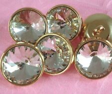 "6 Sparkling Clear Crystal Rhinestone Gold Metal Shank Buttons (5/8"") #G512"
