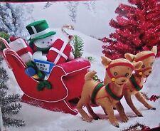 """Bucilla """"WINTER WONDERLAND SLEIGH"""" Snowman~Reindeer Winter Centerpiece Kit"""