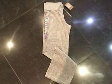 NWT JUICY COUTURE Nuevo & Gen. niña Edad 8 Gris VELOUR Pantalón deportivo LOGO
