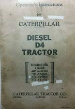 Caterpillar Diesel D4 Tractor Operators & Maintenance Manual RD4 4G1 7G1 2T1 5T1