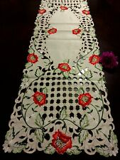"""16x72""""Embroidered Tablecloth Red Poppy Cutwork Design Table Runner Home Decor"""