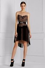 NEW BCBG MAX AZRIA PLEATED TULLE LACE COCKTAIL DRESS (BELTED) NST6K756 SZ S $378