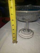 Vintage Stunning Pedestal Depression Glass Candy Nut Dish Etched Beautiful Desig