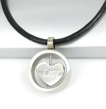 Silver Chrome Round Love Heart Pendant Womens Black Leather Cord Necklace