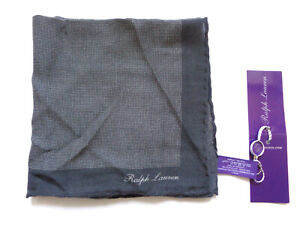 New Ralph Lauren Purple Label Italy 100% Cashmere Charcol Gray  Pocket Square