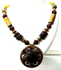 Necklace Pendant Wood Wooden Bead Handmade Jewelry Ethnic Boho Chic Fusion EA330