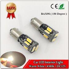2x BAX9s 64132 H6W 10SMD 5730 LED parking Light Bulb Warm White Canbus 4300K 12V