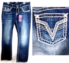 Vigoss blue embroidered pockets back plus size slim boot jeans 14
