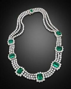 Royal Round-cut White & Green Emerald Three Line Womens Handcrafted Necklace