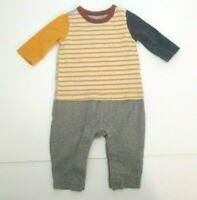 INFANT BOYS BABY GAP GRAY NAVY BLUE & YELLOW STRIPED LONGALL OUTFIT SIZE 0-3 MON