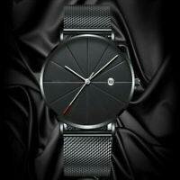 Trendy Men Ultra-Thin Minimalist Watch Slim Strap Stainless-Steel Quartz Watch