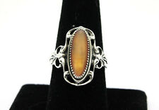 Sterling Silver .925 Southwest Orange Agate Scroll Ring Sz 9.5 6.2g   #3077