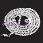 """18K White GOLD GF SILVER 4mm Snake CHAIN Long NECKLACE Womens 19.5"""" S15S SOLID"""