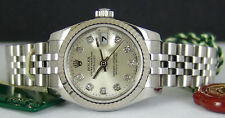 ROLEX - Lady 18kt WG & Stainless Datejust Silver DIAMOND Dial 179174 SANT BLANC
