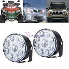 2PC White 12V 9LED DRL Round Daytime Running Light Car Bike Fog Day Driving Lamp