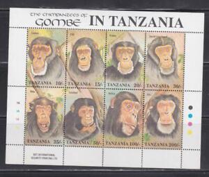 AK84 -  ANIMAL KINGDOM STAMPS TANZANIA 1992 CHIMPANZEE OF GOMBE SHEET MNH