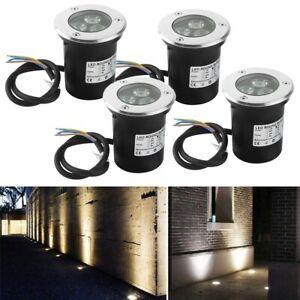 4X Bodeneinbauleuchte LED Bodeneinbaustrahler Bodenleuchte 230V Außen Warmweiß