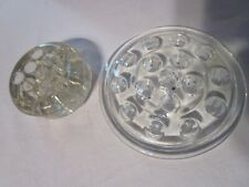 2 Vintage Round Glass Crystal Flower Arranging Frogs 5 in and 2 3/4 inch Heavy