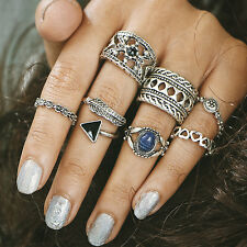 12pcs/set Silver Gold Boho Stack Plain Above Knuckle Ring Midi Finger Tip Rings