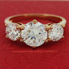 Genuine Solid 9ct Rose Gold Trilogy Engagement Wedding Rings Simulated Diamonds