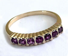 R136 Genuine 9K Gold Natural Purple Amethyst Eternity Ring in yr size Stackable