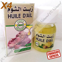 X4  Huile d'Ail BIO 100% Pure & Naturelle 30ml Garlic Oil, Aceite de Ajo