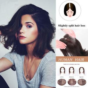 MONO Silk Base Human Hair Topper Straight Toupee Hair Hairpieces Multiple Slits