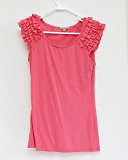 Charlotte Russe Womens Knit Top Shirt Sz Small Pink Ruffled Cap Sleeve