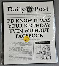 Birthday Greeting Card Friend Funny Newspaper Facebook Vintage Style Blank New