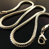 Necklace Chain Real 925 Sterling Silver S/F Solid Chunky Snake Link Design 20""