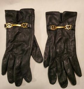 Moschino Womens Gloves Sz 7 Black Leather Peace Love Heart Gold Charm Silk Lined