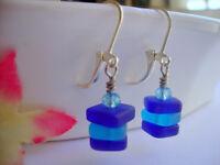 Cobalt Blue Caribbean Sea Glass Square Crystal Silver Leverback Earrings USA