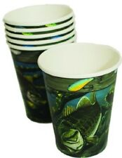 Fishing Fish Camo Party 12oz Cups - Set of 8 - Birthday Wedding