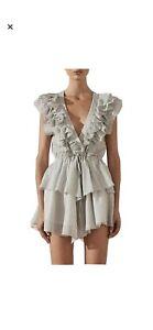 Shona Joy Marea Ruffle Drawstring Mini Dress Size 8