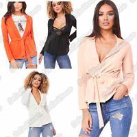 Ladies Long Sleeve Plain Tie Up Belted Duster Crepe Coat Casual Jacket Blazer