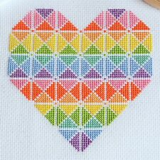 Cross Stitch Kit Geometric Heart Easy Design with 14 Count Aida and DMC Threads